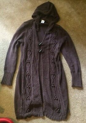 Motherhood Maternity Cable Knit Long Solid Brown Cardigan Sweater Jacket L EUC