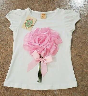 Mia Bella Baby Girls Pink Flowers Top. Size 4T. NWT 3D