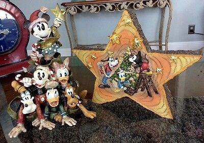 Disney Lighted Woodland Character Christmas Tree & Lighted Wood Star Set of 2