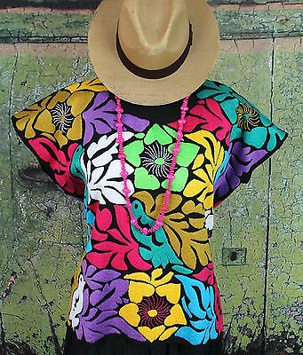 XL Size Hand Embroidered Huipil Blouse Jalapa Mexican Hippie Fiesta Cowgirl Boho