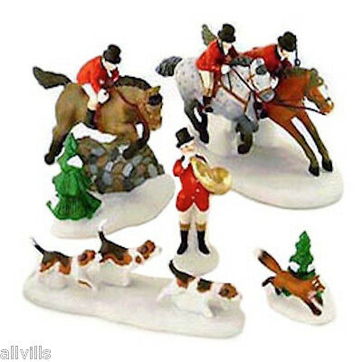 Tallyho  English Foxhunt Horses & Dogs 58391 Dept 56 Retired Dickens Village