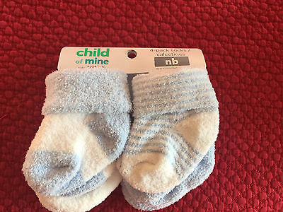 NEW Boys Carters Child of Mine Baby 4 Pair Blue Soft Thick Socks Sock Newborn