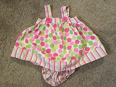 Bonnie Baby baby girl clothes size 3-6 months pink & green polka dot dress set