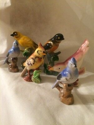 Vintage Ceramic Painted Bird Figurines Made In Japan. 6 Pieces
