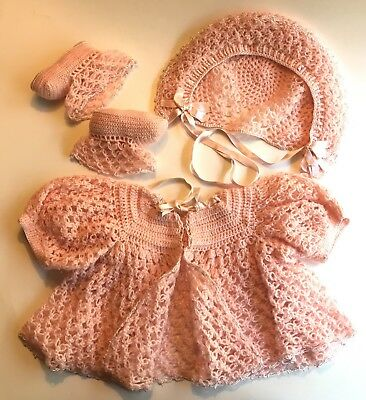 vintage BABY GIRL Pink/Peach Crocheted Sweater, Hat, Booties Layette Gift UNUSED