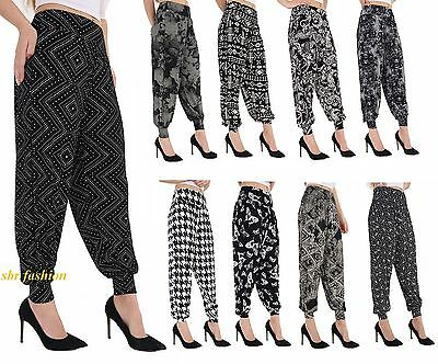 2755186ec57 Ladies Plus Size Printed Harem Pants Cuffed Bottom Ali Baba Womens Trousers  8-26