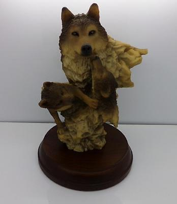 Usa Seller- Peacefull Play Wolf Statue By Mill Creek Studios