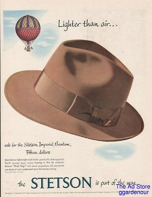 1953 Stetson Imperial Bantam Men's Mode Edge Hat 50s Fashion Hot Air Balloon Ad