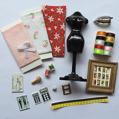 1:12 Scale SEWING SET Needlework/Mannequin/Cottons/Material/Iron/Patterns