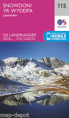 SNOWDON LANDRANGER MAP 115 - Ordnance Survey - OS - NEW 2016 + DOWNLOAD