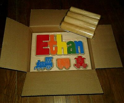 New In Box Baby Wooden Name Stool Ethan Train Blocks New Ababy Name Nursery