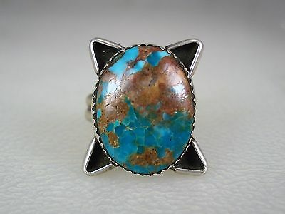 OLD NAVAJO STERLING SILVER & GORGEOUS TURQUOISE RING sz 7