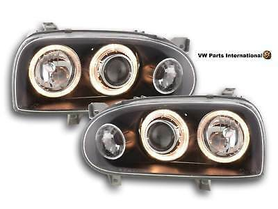 VW Golf MK3 Angel Eye Headlights Black With Integrated Indicators Left And Right