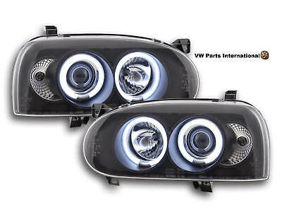VW Golf MK3 Angel Eye Headlights With CCFL In Black Left And Right Set New (LHD)