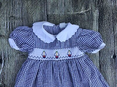 Vintage sailboat Smocked blue and white check girls dress 24 months cuddle bear