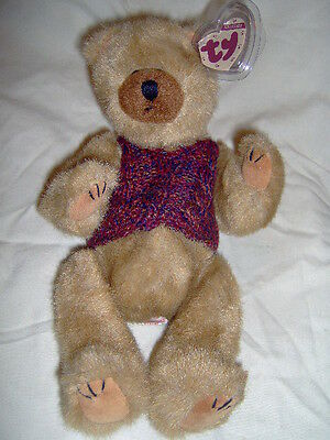 Clyde the 11 inch Tan Bear with Multicolor Sweater