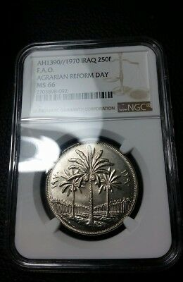 Iraq 250 Fils, 1970, Agrarian Reform Day, F.A.O. NGC MS66 top grade