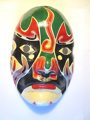VINTAGE! c1950's JAPANESE HAND PAINTED KABUKI THEATER MASK! WEARABLE Paper Maché