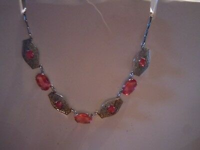Vintage art deco era pink stone and rhodium plated necklace