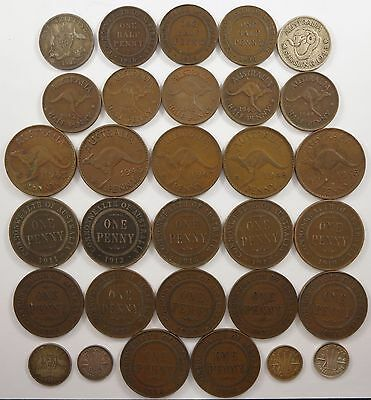 Australia coin lot, Pennies, Half-Pennies and more, 1910's to 1940's