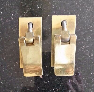 Pair of Matching Vintage Brass Drawer Pulls with plate and screws