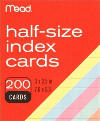 """Meadwestvaco 63039 3"""" X 2-1/2"""" Ruled Index Cards Assorted Colors 200 Count, Part"""
