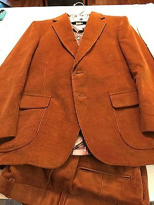 ~Groovy~ Sears Corduroy 3-Piece Suit With Disco Shirt 40S 32x29 Vintage