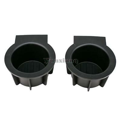 2pcs Black Front Console Cup Holder Inserts For Ford F-150 Expedition Navigator