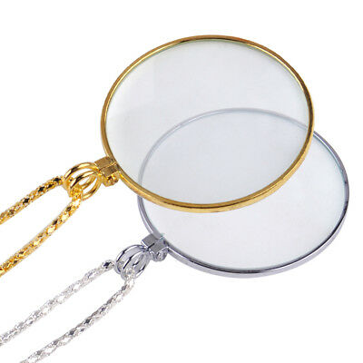 Golden Toned Plated 5x Magnifier Magnifying Glass Pendant Chain Necklace Jewelry