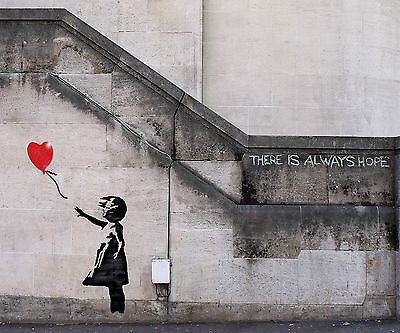 A0  size canvas huge street art painting print  urban  BANKSY  Hope balloon