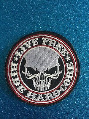 Skull Live Free Ride Hard Core Iron ON Sew Patch Clothing