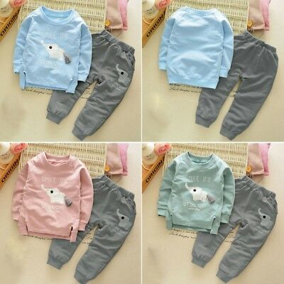 Baby Boys Girls Kids Long Sleeve Clothes Sets Tops Cotton T-Shirt+Pants Outfits