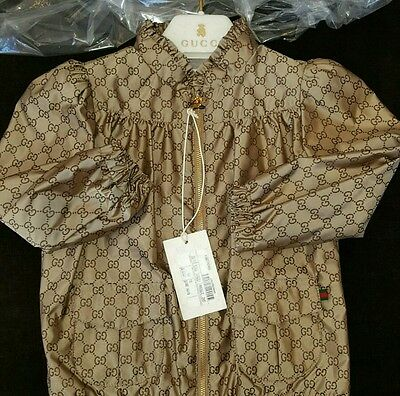NWT NEW Gucci baby girls beige GG jacquard bomber jacket 3/6 24m 279180