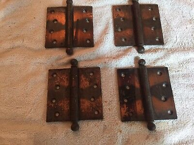 "Lot Of Four Antique Stanley Sweetheart SW 4"" Flashed Copper Hinges"