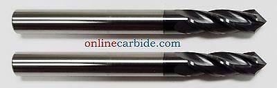 """2 PCS - 1/8"""" 4 FLUTE 90 DEGREE CARBIDE DRILL MILL - TiALN COATED"""