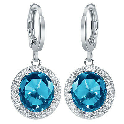 Fashion Women Jewelry 925 Silver Ear Stud Blue Topaz Dangle Party Hoop Earrings