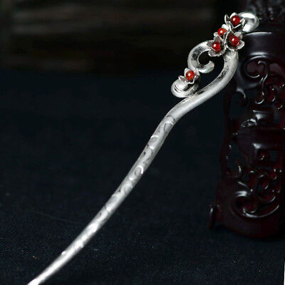 Women Chinese Retro handmade Miao Silver Agate Carved Hair sticks Hairpin Gift