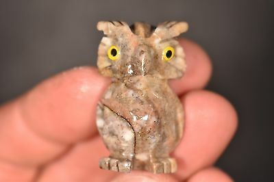 Soapstone OWL CARVING 3.7cm 17g Carved Healing Crystal Gift