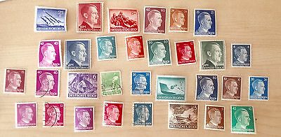 Nazi Germany 1940s Hitler Lot of 31 Stamps New and Used Deutsches Reich