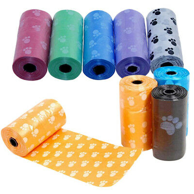5Roll Pet Dog Doggy Waste Poop Bag With Paw Printing Dispenser Picking Clean-up