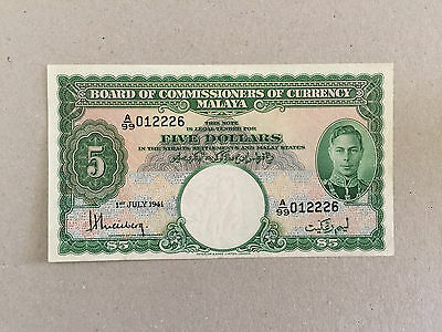 MALAYA 1941 KING GEORGE VI 5 DOLLAR P12 aUNC RARE NOTE A/99 012226 VERY NICE