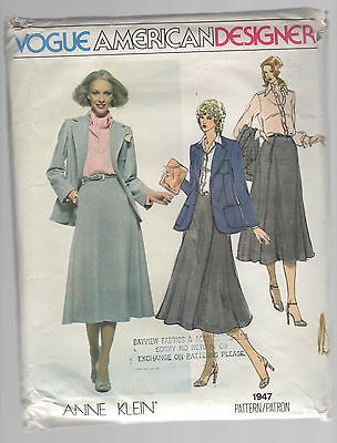 VOGUE pattern 1947 business wardrobe  Sz 12 Anne Klein skirt jacket blouse