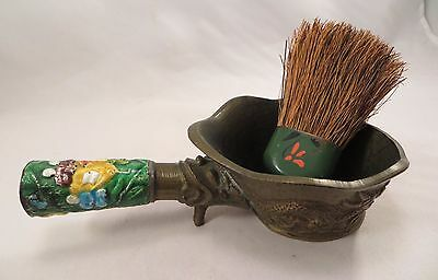 Vintage Chinese Enamel Handled Bowl Spoon & Lacquer Handled Brush China