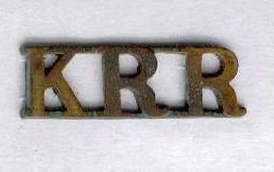 Military Great Britain Kings Royal Rifle Corps Brass Shoulder Title Krr Pre 1958