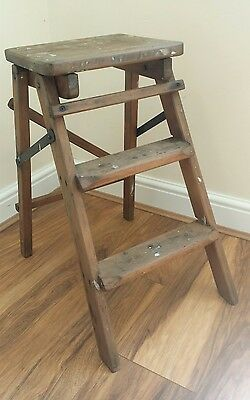 Vintage Small Wooden Folding Step Ladders