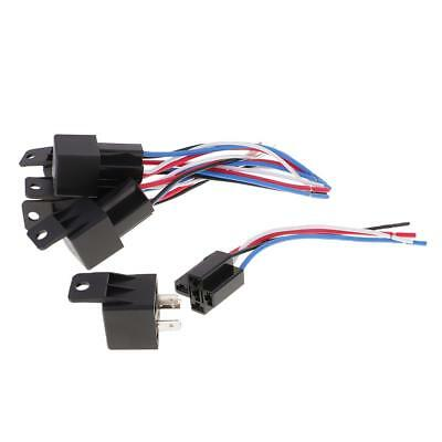 5 Pieces DC12V 40Amp Car SPDT Automotive Relay 4 Pin 4 Wires Harness Socket
