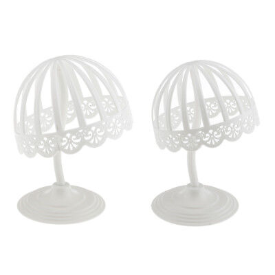 White Plastic Baby Hat Wig Display Stand Holder Rack for Home Shop Salon
