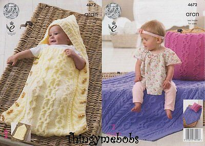 King Cole 4672 Aran Baby Sleeping Bag/cushion/blanket Original Knitting Pattern