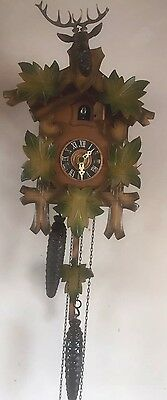 "Traditional German 2 Weights Driven Movement Carved Wood Cuckoo Clock GWO 11""H"