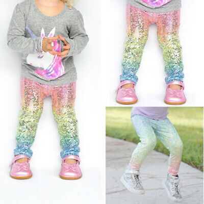 Toddler Kids Girls Baby Sequin Gradient Casual Bling Leggings Pattern trousers
